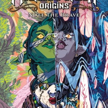 Cover to Critical Role: The Mighty Nein Origins - Nott the Brave, written by Sam Maggs with Critical Role's Matthew Mercer and Sam Riegel, with art by William Kirkby, colors by Mildred Louis, and letters by Ariana Maher, in stores in April 2022 from Dark Horse Comics and retailing for $17.99