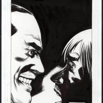Charlie Adlard's Negan Vs Rick Walking Dead Splash Page at Auction