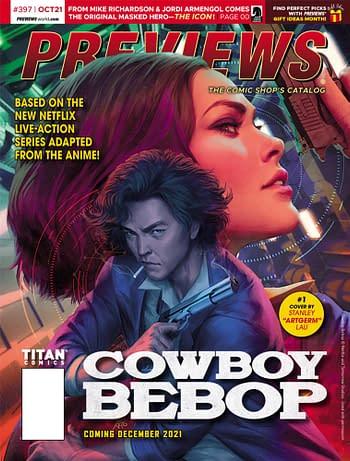 Cowboy Bebop and Vampirella/Dracula On Front Of Diamond Previews