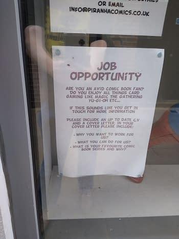 Piranha Comics Hiring Staff/Opening Store in North-West London.