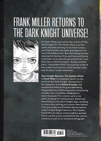 Dark Knight Returns The Golden Child HC Barnes & Noble Variant Back Cover