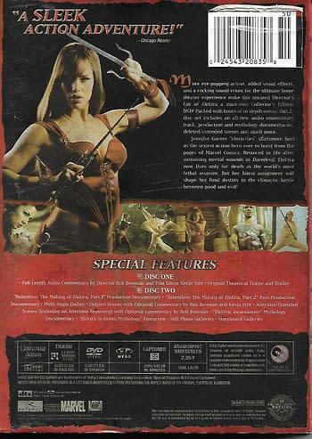 Elektra Special Edition DVD Back