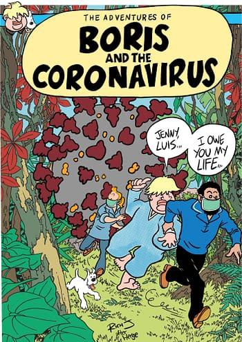 Boris Johnson and the coronavirus, in Tintin form.
