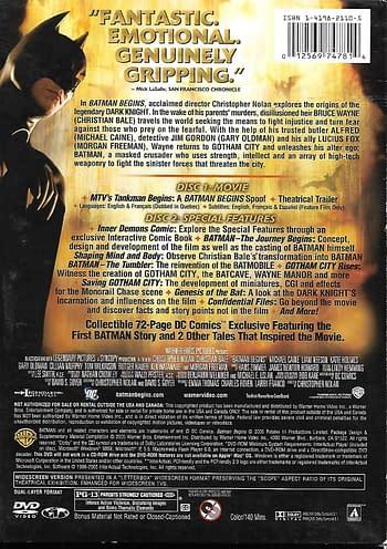 Batman Begins DVD Comic Boxset Back Cover The Dark Knight