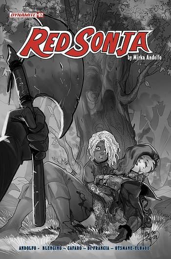 Cover image for RED SONJA (2021) #2 CVR F 10 COPY INCV ANDOLFO B&W