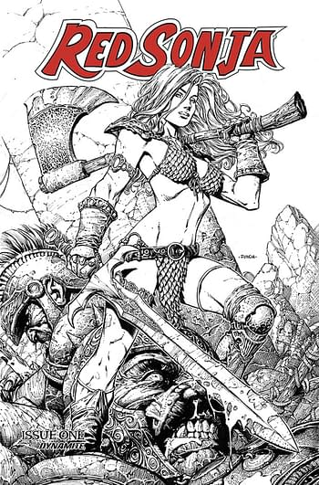 Cover image for RED SONJA PRICE OF BLOOD FINCH SP ED LINE ART CVR