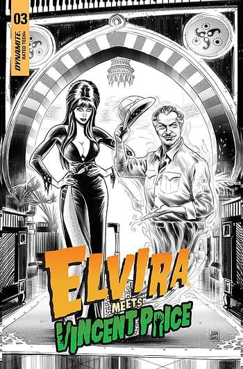 Cover image for ELVIRA MEETS VINCENT PRICE #3 CVR F 15 COPY INCV SAMU B&W LI