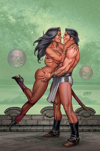 Cover image for DEJAH THORIS VS JOHN CARTER OF MARS #4 CVR K LINSNER LTD VIR