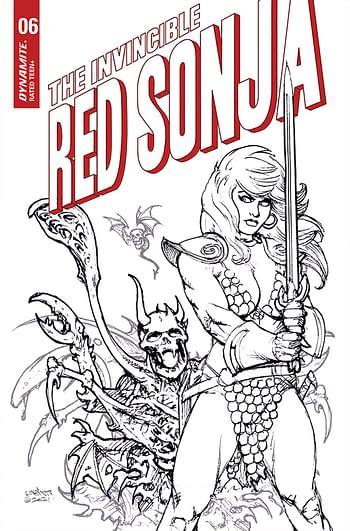 Cover image for INVINCIBLE RED SONJA #6 CVR I 25 COPY INCV LINSNER B&W