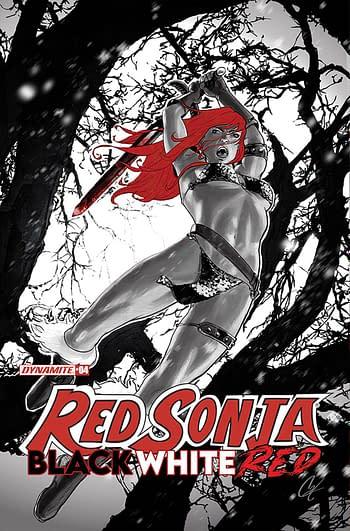 Cover image for RED SONJA BLACK WHITE RED #4 CVR B STAGGS