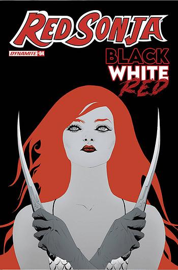 Cover image for RED SONJA BLACK WHITE RED #4 CVR C LEE