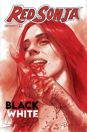 Cover image for RED SONJA BLACK WHITE RED #4 CVR E 10 COPY INCV PARRILLO TIN