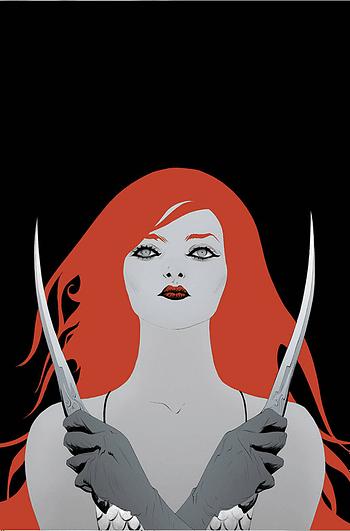 Cover image for RED SONJA BLACK WHITE RED #4 CVR J LEE LTD VIRGIN