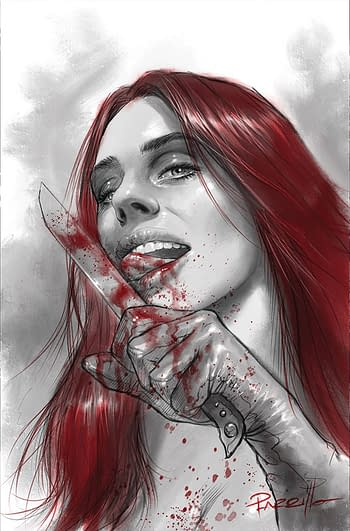 Cover image for RED SONJA BLACK WHITE RED #4 CVR I PARRILLO LTD VIRGIN