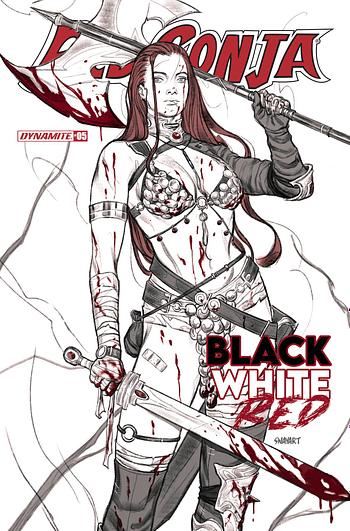 Cover image for RED SONJA BLACK WHITE RED #5 CVR B SWAY