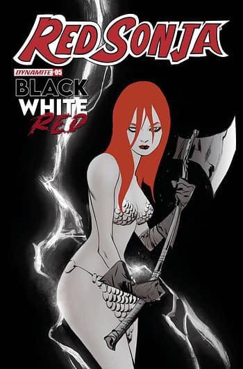 Cover image for RED SONJA BLACK WHITE RED #5 CVR C LEE
