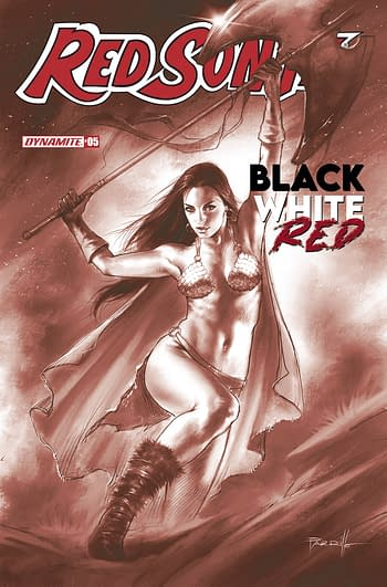 Cover image for RED SONJA BLACK WHITE RED #5 CVR E 10 COPY INCV PARRILLO TIN