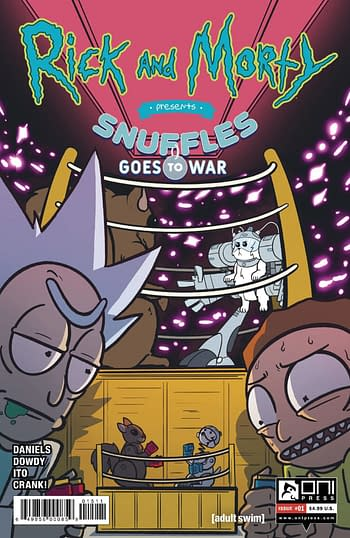 Cover image for RICK & MORTY PRESENTS SNUFFLES GOES TO WAR #1 CVR A DOWDY