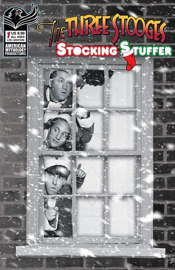 Cover image for THREE STOOGES STOCKING STUFFER #1 CVR D LTD ED B&W PHOTO 1/3