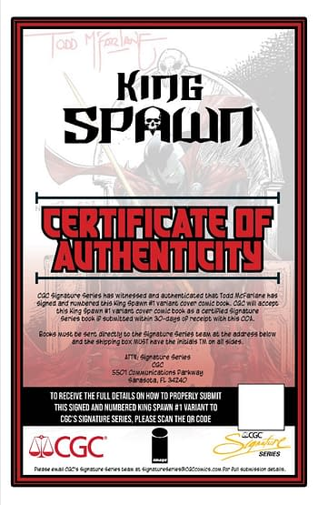 Todd, Image and CGC Offer Slabbed Signed 1:250 King Spawn #1 Variants