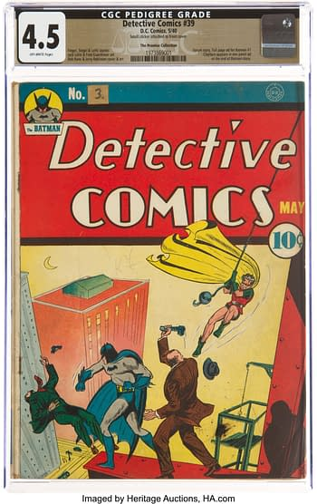 Detective Comics #39 The Promise Collection Pedigree (DC, 1940) CGC VG+ 4.5 Off-white pages.
