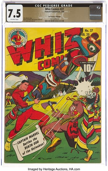 Whiz Comics #27 The Promise Collection Pedigree (Fawcett Publications, 1942) CGC VF- 7.5 Off-white pages