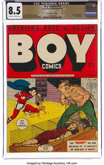Boy Comics #15 The Promise Collection Pedigree (Lev Gleason, 1944) CGC VF+ 8.5 Off-white to white pages