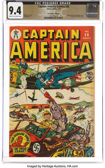 Captain America Comics #36 The Promise Collection Pedigree (Timely, 1944) CGC NM 9.4 Cream to off-white pages