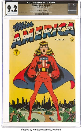 Miss America Comics #1 The Promise Collection Pedigree (Timely, 1944) CGC NM- 9.2 Off-white to white pages