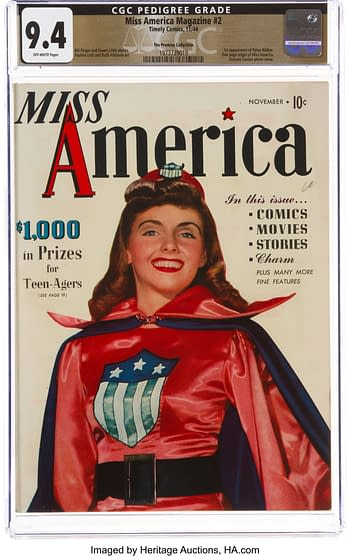 Miss America Magazine V1#2 The Promise Collection Pedigree (Timely, 1944) CGC NM 9.4 Off-white pages