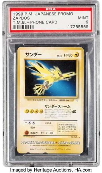 The front face of the mint-graded Tropical Mega Battle Zapdos phone card prize from the Pokémon Trading Card Game. This gem of a card is up for auction at Heritage Auctions.