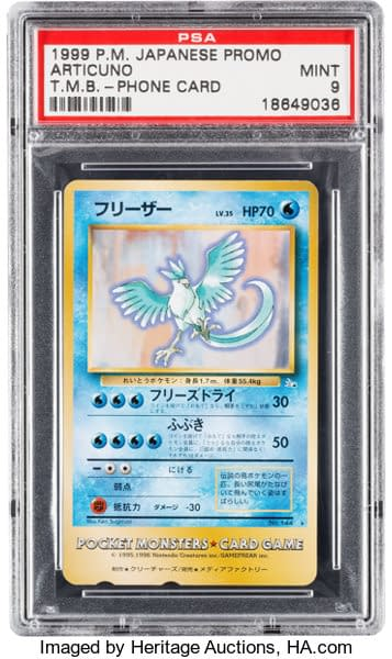 The front face of the mint-graded Tropical Mega Battle Articuno phone card prize from the Pokémon Trading Card Game. This gem of a card is up for auction at Heritage Auctions.