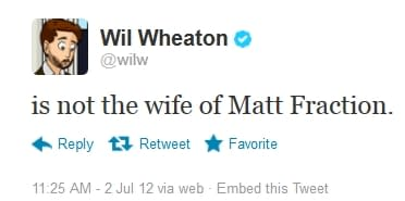 Bleeding Cool Is Not The Wife Of Matt Fraction Either