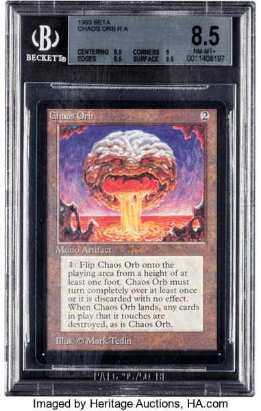 The front face of the graded Near Mint, 8.5-grade Chaos Orb from Magic: The Gathering, presently on auction via Heritage Auctions.