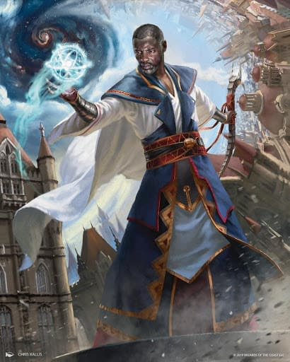 The artwork for Teferi, Time Raveler, a recently-banned card from War of the Spark, an expansion set from Magic: The Gathering. Illustrated by Chris Rallis, Teferi also recently got the banhammer pointed at him.