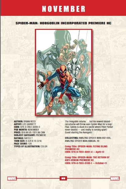 Hachette Releases Marvel Catalogue For The End Of 2012
