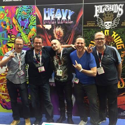 Pictured (L to R): Brian Witten, President of Heavy Metal, Kevin Eastman, Publisher of Heavy Metal, Grant Morrison, EIC of Heavy Metal, Jeff Krelitz and David Boxenbaum, Heavy Metal co-CEO's.