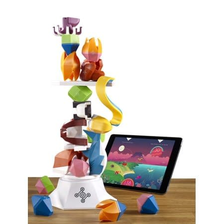 A stack created for a game of Beasts of Balance. An app on a tablet is used to integrate the physical aspects of the game with the digital.