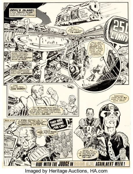 Original Artwork by Mike McMahon From Very First Published Judge Dredd 2000AD Story Goes On the Block