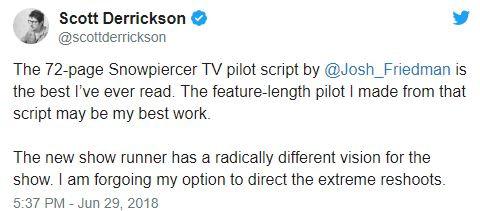 "'Snowpiercer' Director Scott Derrickson Opts Out of Reshoots over New Showrunner's ""Radically Different Vision"""