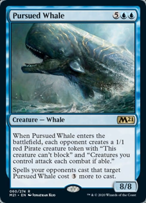 Pursued Whale, a new card from Core 2021, an upcoming expansion set for Magic: The Gathering.