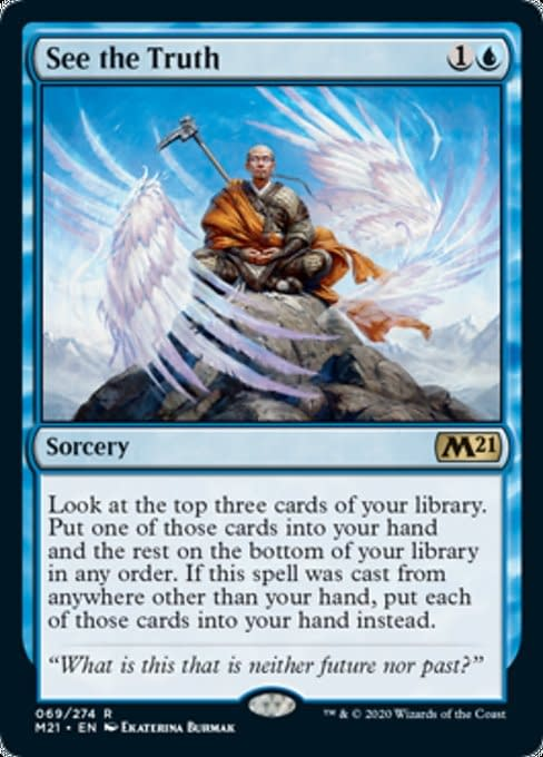 See The Truth, a new card from Core 2021, an upcoming expansion set for Magic: The Gathering.