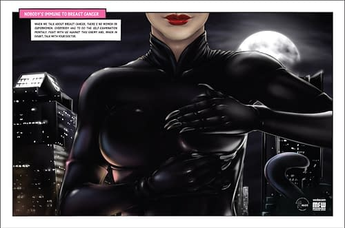 Catwoman, Wonder Woman, Storm And She Hulk Examine Their Breasts In Cancer Awareness Ads