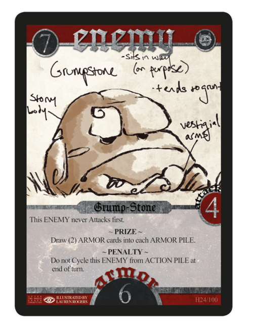 Grump-Stone, the Enemy card that did us in at the conclusion of our introduction to Spell Saga.