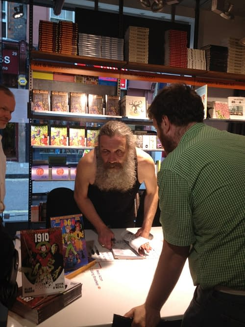 Pics Of Alan Moore, Kevin O'Neill, Pat Mills And Simon Bisley Signing In London Right Now – Are The Eighties Back Again?