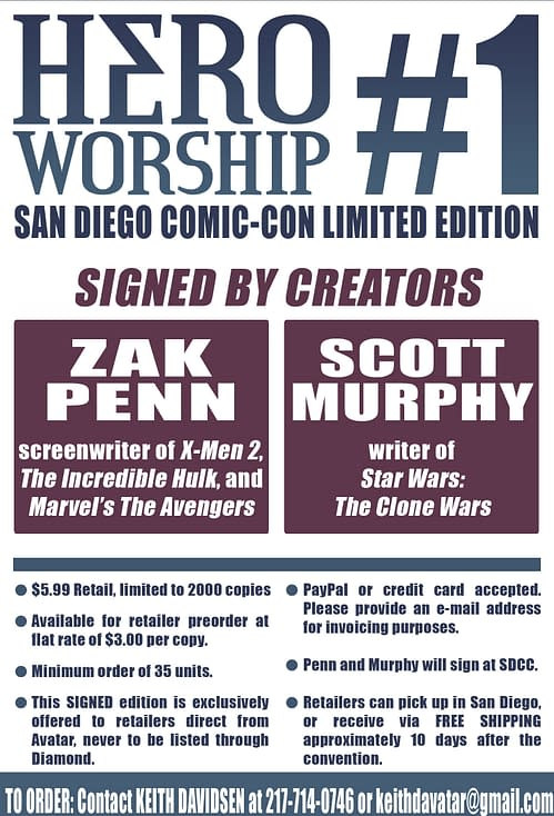 Avatar Plug of SDCC: HERO WORSHIP #1 Signed Variant Edition Exclusive to Retailers