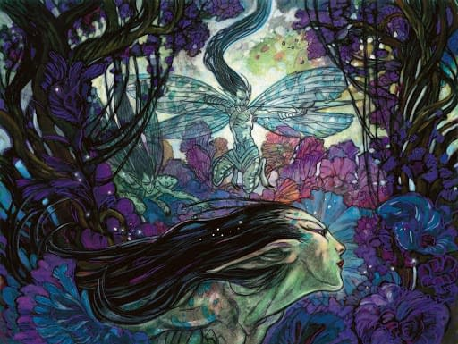 The artwork for Bitterblossom, a card from the Morningtide expansion set for Magic: The Gathering. Illustrated by Rebecca Guay.
