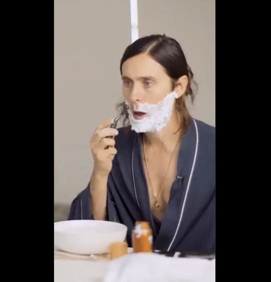 Jared Leto Shaves for 'Morbius' While He Can Still See His Reflection (VIDEO)