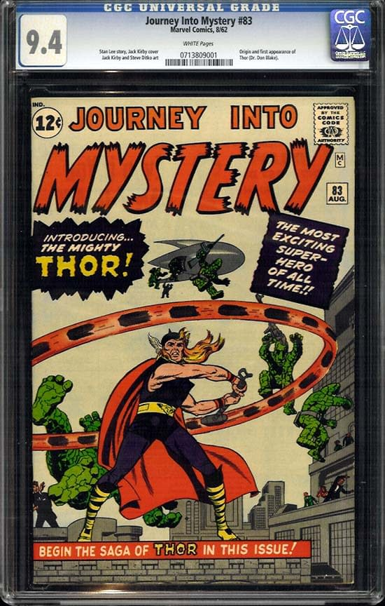 First Appearance Of Thor In Journey Into Mystery #83 Hits Record $222,200
