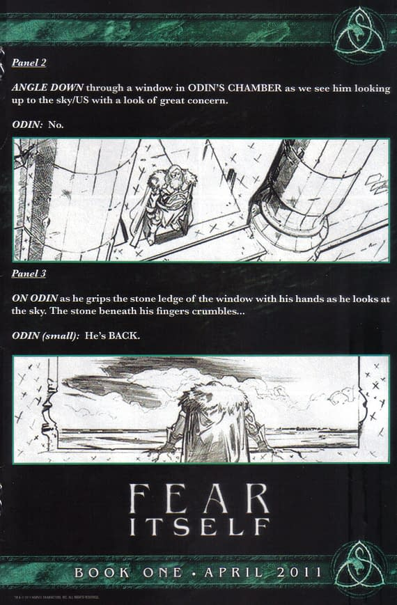 Script Extract From One Page Of Fear Itself By Matt Fraction
